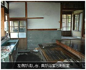 左側が流し台、奥が浴室と洗面室