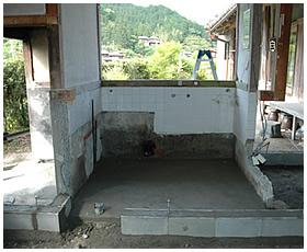 浴室を拡げるための新しい基礎