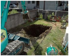 据え付け場所の掘削作業